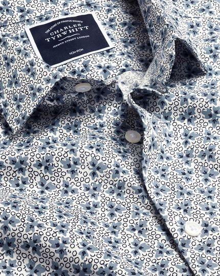 Popeline-Hemd mit Stretch und Blattmotiv - Blau