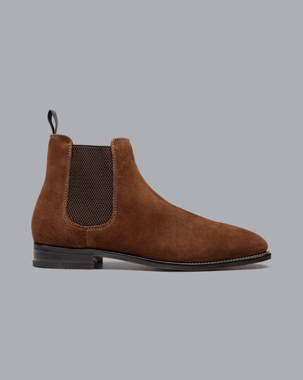 Goodyear Welted Suede Chelsea Boots - Walnut Brown