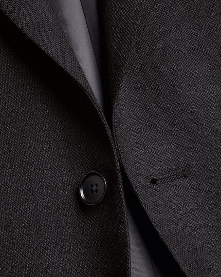 Birdseye Travel Suit Jacket - Charcoal Grey