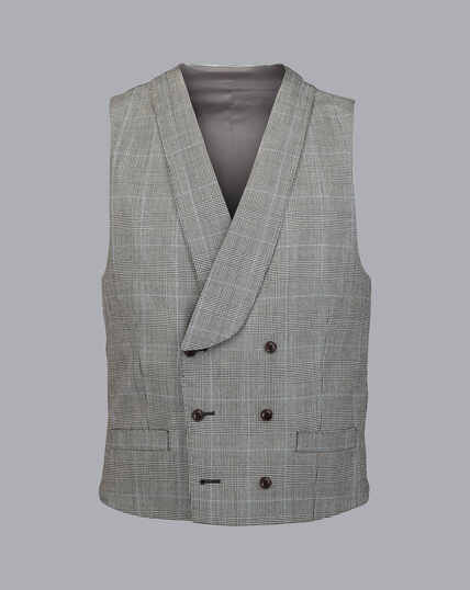 British Luxury Prince of Wales Check Suit Waistcoat - Grey