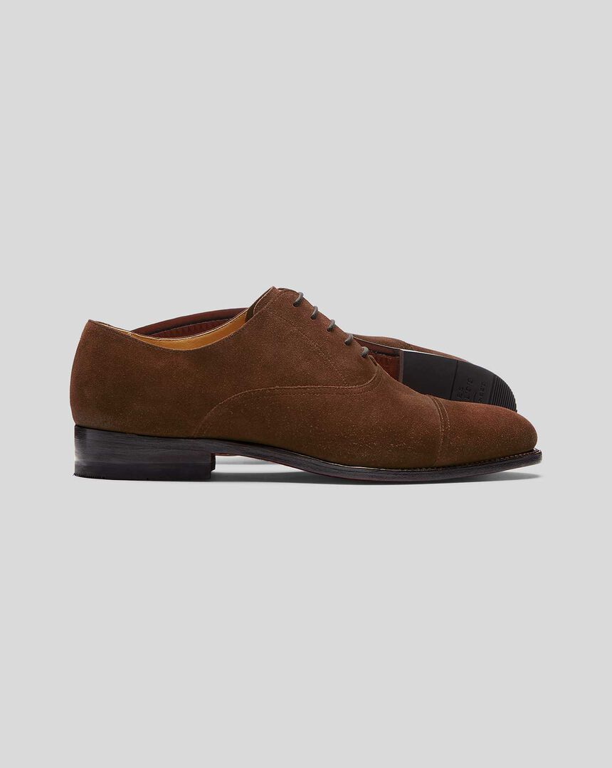 Goodyear Welted Suede Oxford Toe Cap Shoes  - Walnut Brown