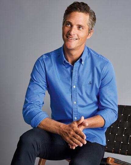 Garment Dyed Fine Twill Shirt - Ocean Blue