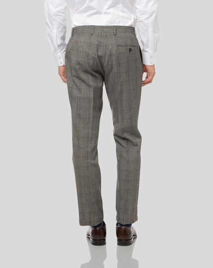 Prince of Wales Check Suit Trousers - Grey & Burgundy