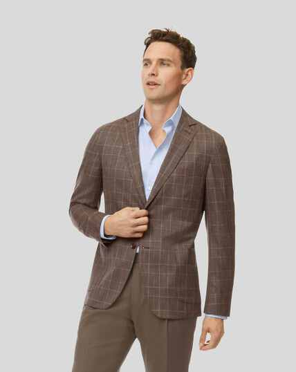 Prince of Wales Check Wool Silk Linen Jacket - Brown