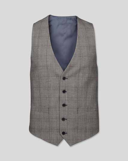 Prince of Wales Check Suit Waistcoat - Grey & Burgundy