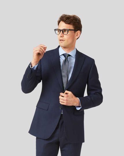 Birdseye Peak Lapel Travel Suit Jacket - Ink Blue
