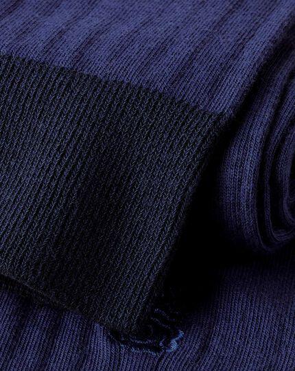Rippstrick-Baumwollsocken mit England Rugby-Motiv - Französisches Blau