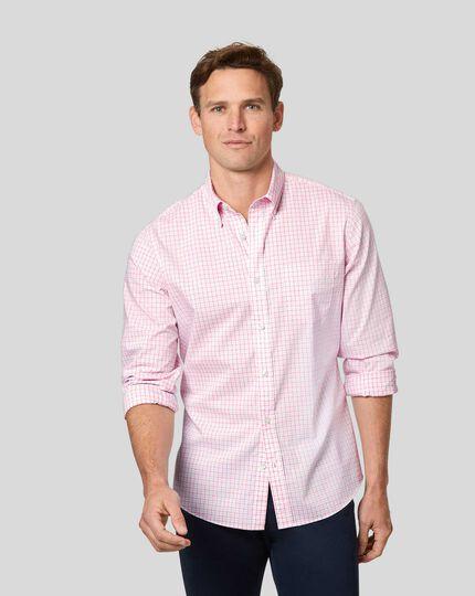 Button-Down Collar Non-Iron Stretch Poplin Check Shirt - Coral & Blue