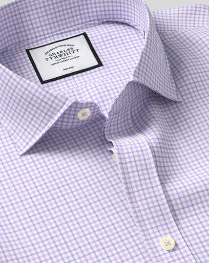 Cutaway Collar Non-Iron Twill Check Shirt - Lilac