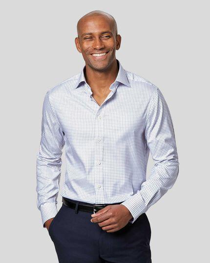 Semi-Spread Collar Egyptian Cotton Twill Check Shirt - Royal Blue
