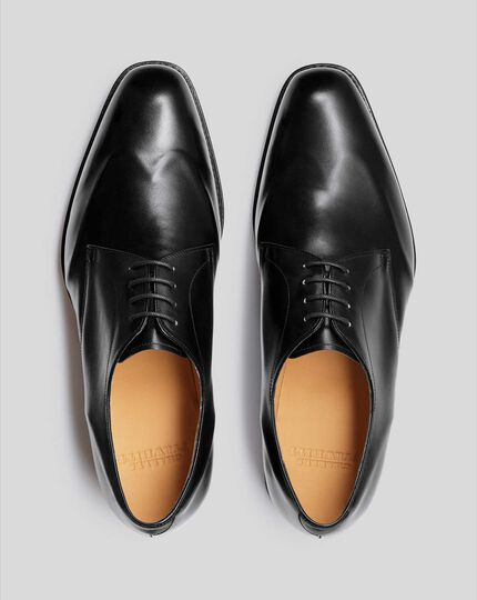 Goodyear Welted Plain Wing Tip Derby Shoe - Black