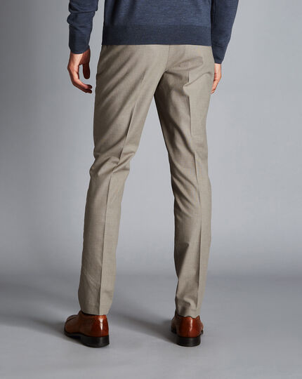 Non-Iron Triangle Dobby Stretch Trousers - Olive