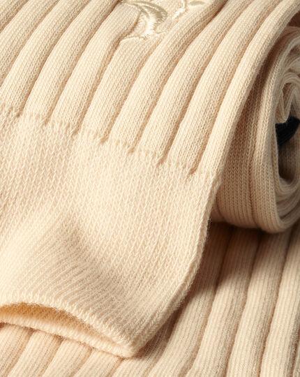 Cotton Rib Socks - Cream