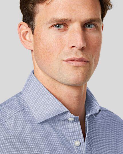 Spread Collar Non-Iron Cotton Stretch Check Shirt - Blue