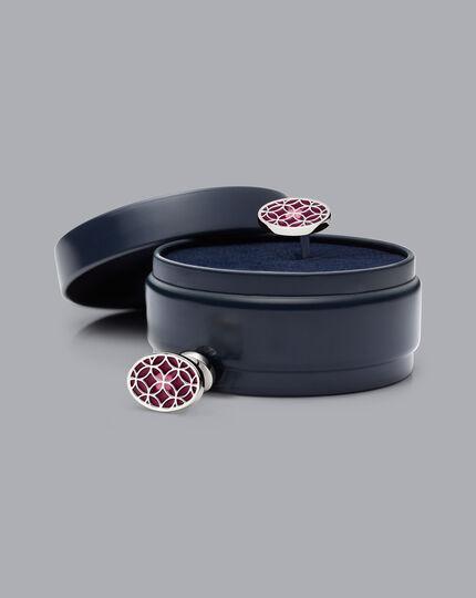 Enamel Cufflinks - Wine & Pink