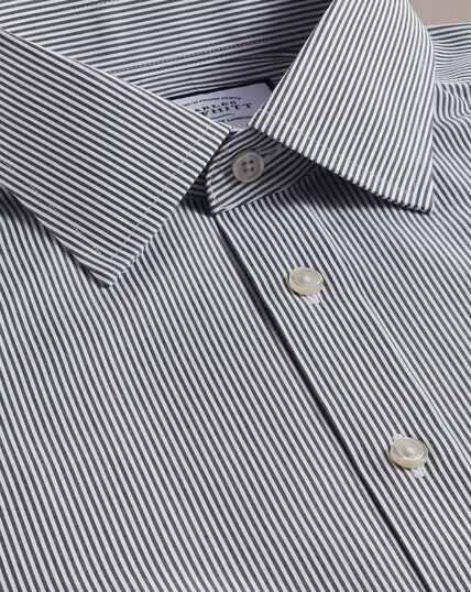 Bügelfreies Hemd mit Bengal-Streifen - Schwarz