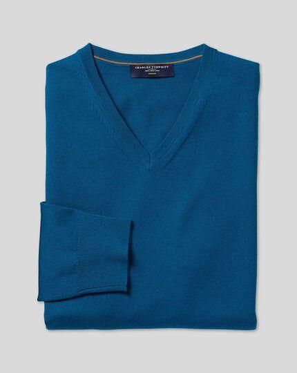 Merino V-Neck Jumper - Petrol Blue