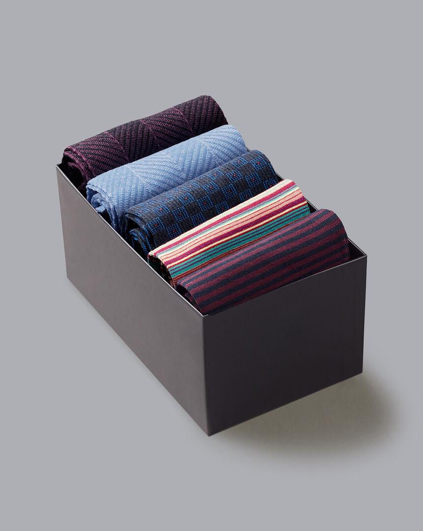 Jacquard Sock Gift Box - Navy & White