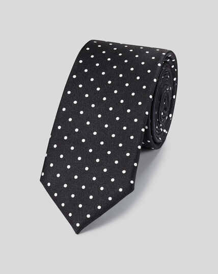 Slim Silk Printed Spot Tie - Black & White