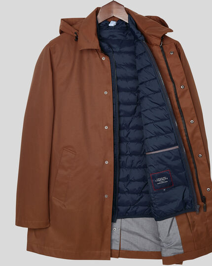 Shower Resistant Hooded 3-in-1 Raincoat - Rust