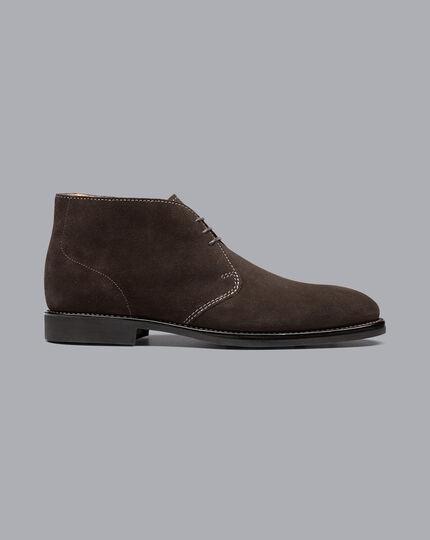 Goodyear Welted Suede Chukka Boots - Dark Chocolate
