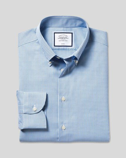 Bügelfreies Hemd mit Button-down-Kragen und Karos - Himmelblau