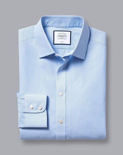 Bügelfreies Hemd mit Bengal-Streifen - Himmelblau