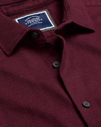 Textured Flannel Shirt - Berry