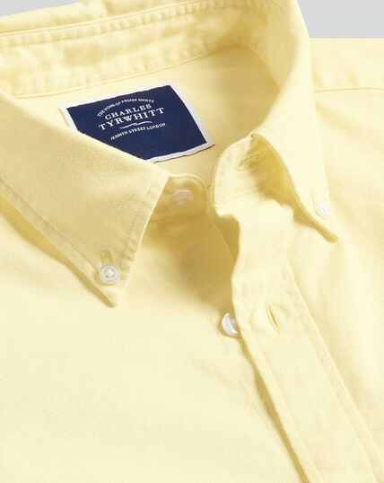Button-Down Collar Washed Oxford Shirt - Light Yellow