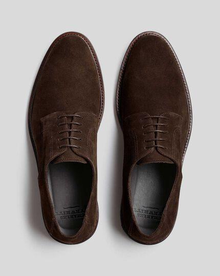 Flexible Sole Suede Derby Shoe - Dark Chocolate