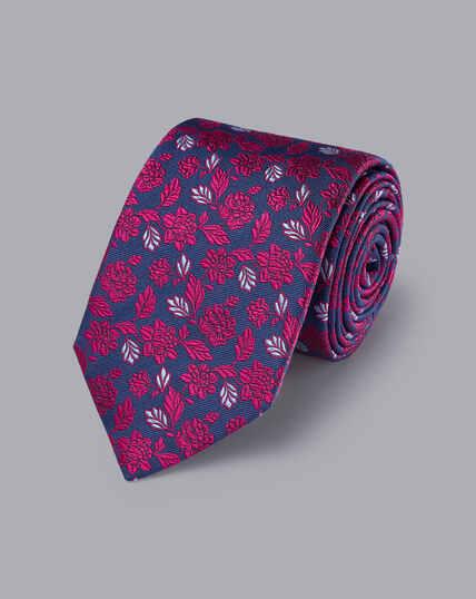 Englische Luxuskrawatte aus Seide - Kobaltblau & Dunkles Rosa