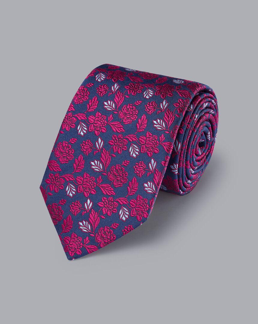 Silk English Luxury Design Tie - Cobalt Blue & Dark Pink