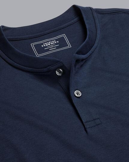 Henley Langarm-Shirt - Marineblau