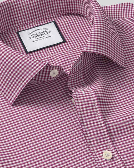 Classic Collar Gingham Shirt - Pink