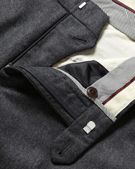 Italian Wool Flannel Pants - Charcoal