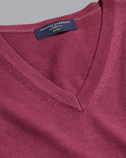 Merino V-Neck Sweater - Dark Pink