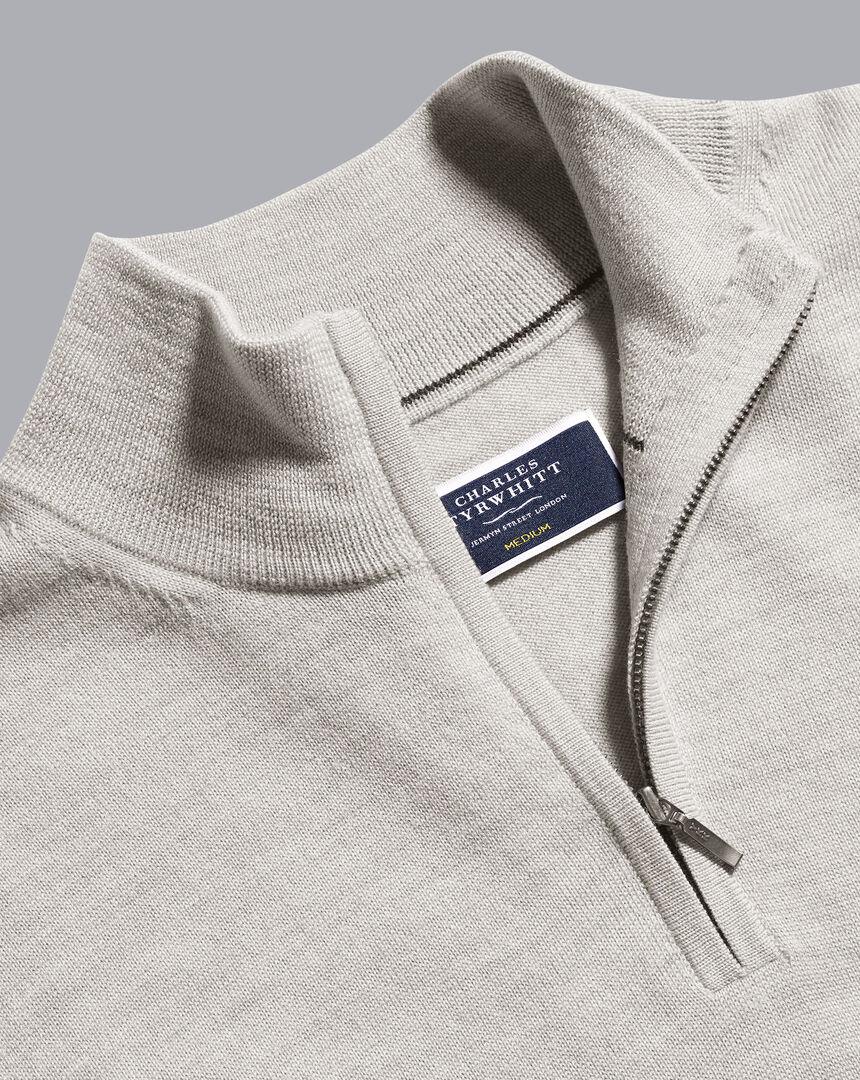 Merino Zip Neck Sweater - Silver