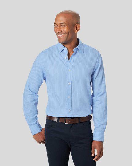 Button-Down Collar Fine Stripe Bouclé Shirt - Sky & White