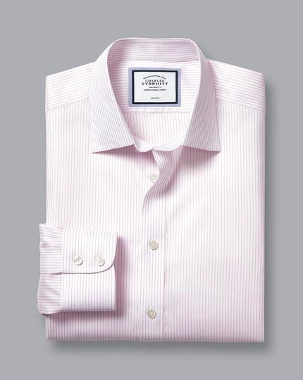 Non-Iron Twill Stripe Shirt - Pink & White
