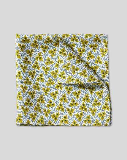 Leaf Print Pocket Square - Olive