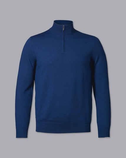 Merino Zip Neck Jumper - Royal Blue