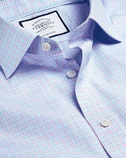 Semi-Cutaway Collar Egyptian Cotton Poplin Multi Check Shirt - Pink & Sky