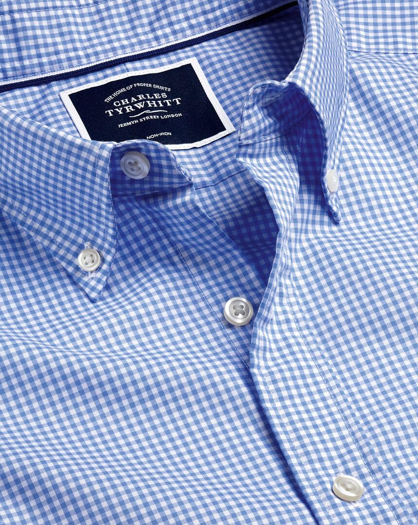 Button-Down Collar Non-Iron Stretch Poplin Mini Gingham Shirt - Ocean Blue