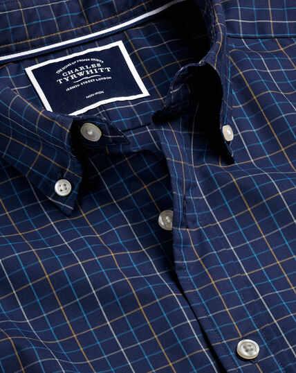Button-Down Collar Non-Iron Stretch Poplin Check Shirt - Navy and Yellow