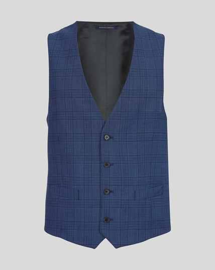 Merino Check Business Suit Vest - Blue
