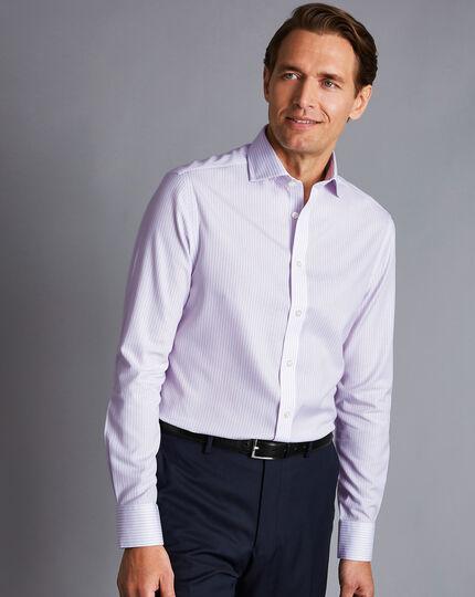 Cutaway Collar Non-Iron Cotton Stretch Stripe Shirt - Lilac