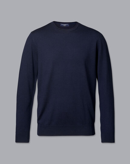 Merino Crew Neck Sweater - Navy