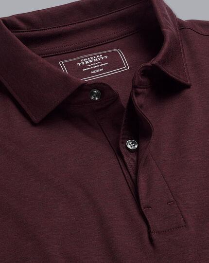 Cotton TENCEL™ Mix Long Sleeve Polo - Wine