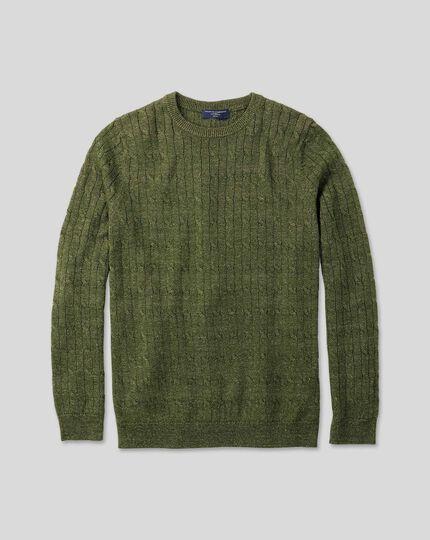 Merino Linen Cable Knit Crew Neck Jumper - Olive