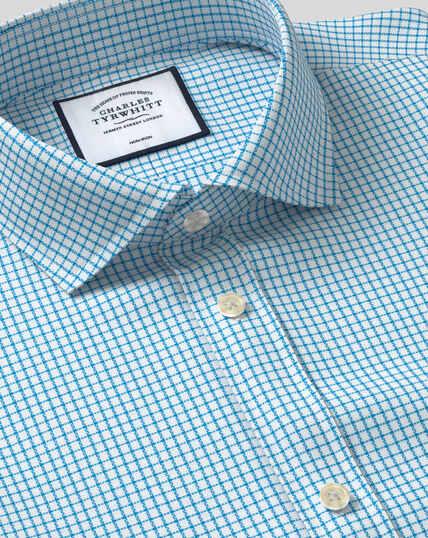 Spread Collar Non-Iron Cotton Stretch Check Shirt - Teal